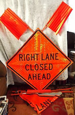 "Dicke Safety Products 2 Right Lane Closed Ahead 48"" Superbright Reflective Signs"