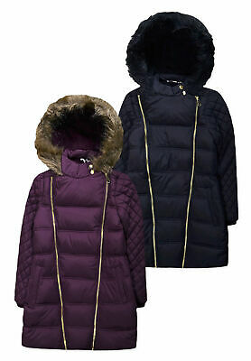 Girls Coat New Kids Quilted Padded Fur Trimmed School Plain Jacket 6 - 16 Years