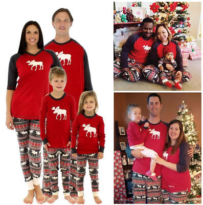 XMAS Family Matching Pajamas Set Deer Adult Women Kids Sleepwear Nightwear Gift