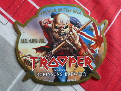 "Robinsons Brewery "" Trooper "" ( Iron Maiden )  Pump Clip Front ( Clear B )"