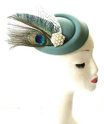 Sage Green White Peacock Feather Pillbox Hat Races Fascinator Headpiece Vtg