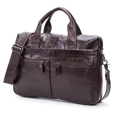 Men's Genuine Leather Briefcase Handbag Messenger Shoulder Laptop Work Tote Bag