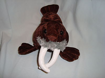 "Kellytoy WALRUS 10"" Short Plush Brown Soft Toy Stuffed Sea Animal White Tusks"