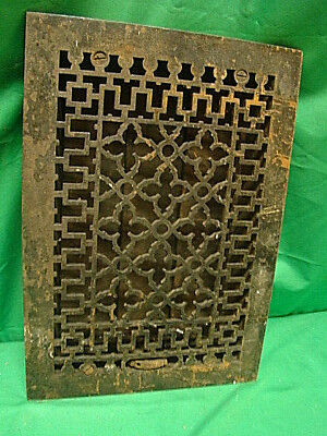 ANTIQUE LATE 1800'S CAST IRON HEATING GRATE ORNATE DESIGN 13.75 x 9.75 JH