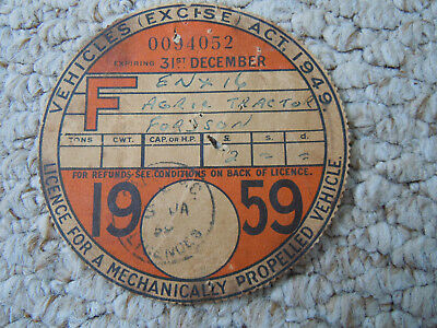 @Vintage Fordson Tractor Tax Disc 1959 @