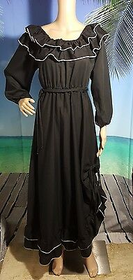 Flirty Western Maxi Rodeo Country Black Adjustable Cold Shoulder Summer Dress Sm