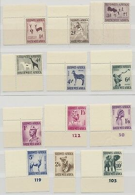 South West Africa 1954 SG 154 - 165 Animals Corners incl Numbers and Gutters MNH