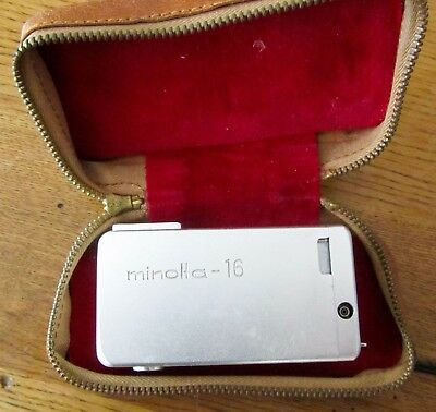 MINOLTA-16 II Sub Miniature 1960s Spy Camera, Rokkor 22mm 2.8 lens + Case