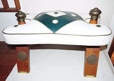 Vintage Antique Wood Leather Brass Egyptian Camel Saddle Foot Stool Ottoman Seat