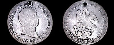 1823-Mo JM Mexican 2 Reales World Silver Coin - Mexico - Iturbide - Holed