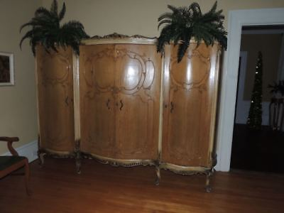 Spectacular Antique 1880's French Amoire Wardrobe Serpentine Front Carved Relief