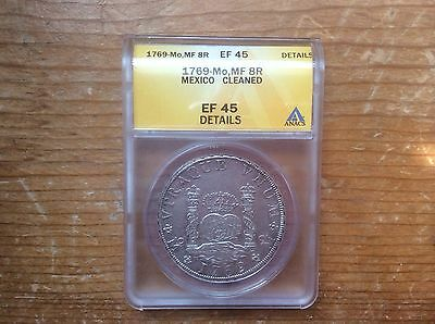 1769 MO MF Mexico 8 Reales GRADED XF45-details BY ANACS