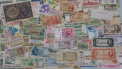 LOT OF OVER 200 WORLDWIDE BANKNOTES, FREE SHIPPING! France, Italy, Germany.