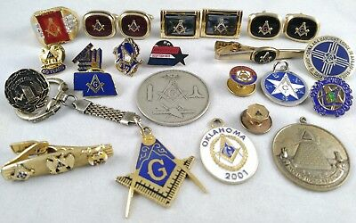 20 Piece Jewelry Lot Vtg Mod Fraternal Grand Masonic Pins Cuff Links Coin Ring