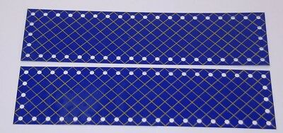"Meccano vintage,prewar Pn196, 9½""(242mm) blue/gold xhatched strip plates. 2of"