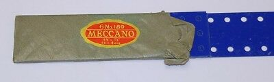 "Meccano vintage, prewarBlue/gold x hatch fibre plates Pn 189, 5½"" x 1½"" 6of"