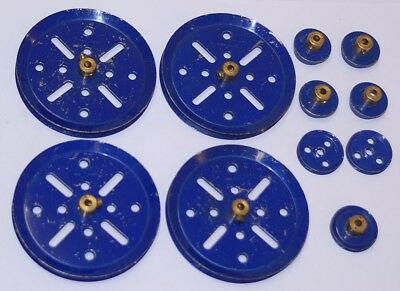 Meccano vintage, prewar Blue parts, Pn 19b, 20, 22, 22a.  11 total.