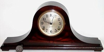 "Antique Sessions Long Mahogany Inlaid Tambour Mantel Clock. *model ""inlay No.2""."