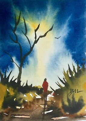 ACEO Original Art Watercolour Painting by Bill Lupton - Yellow Light