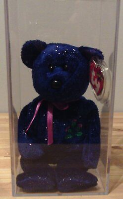 ty beanie baby bear Thistle in display case, tag protected