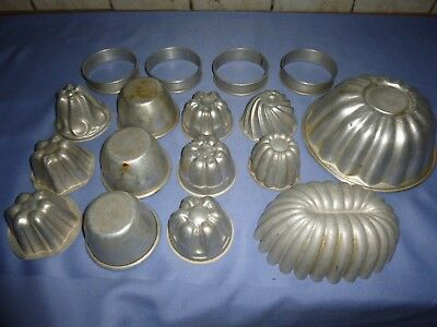Job Lot Vintage Collectable Kitchenalia   Cookware Baking Tins Moulds Rings Sets