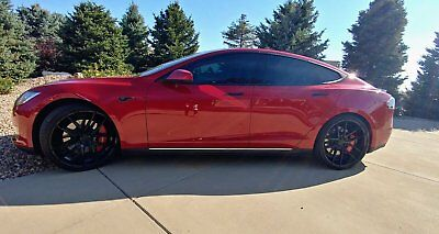 "2013 Tesla Model S P85 2013 Tesla Model S P85 Red 22"" Wheels $8K Stereo System"