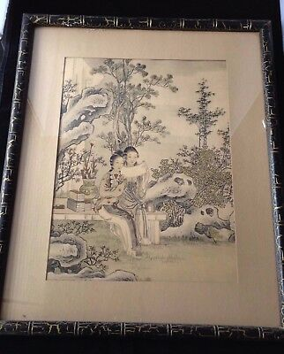 Asian Hand Colored Print Image of Women in Rock and Flower Garden FRAMED !