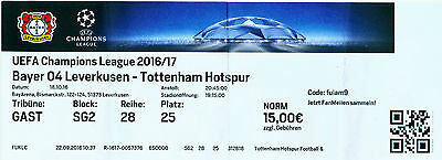 TICKET STUB - BAYER LEVERKUSEN v TOTTENHAM (CHAMPIONS LEAGUE) - 18/10/2016