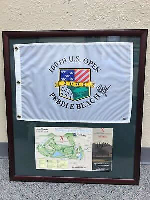 PHIL MICKELSON Signed US Open Flag. Framed w/ signed Phoenix Open score card.