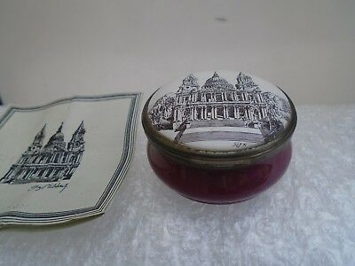 THE ST PAULS BOX  limited edition 1971 bilston enamel halcyon days pot & C.O.A