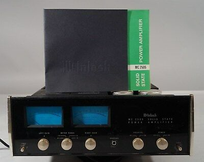 Vintage 1967-77 McIntosh MC-2505 Solid State Stereo Power Amplifier & Manual