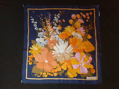 Vintage Beautiful CHRISTIAN DIOR Floral 100% Silk Scarf