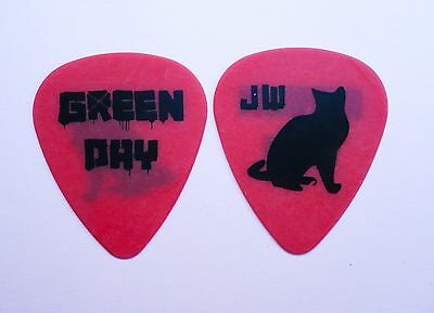 Green Day - Guitar Pick Jason White 'Cat' Pick. Red Pick With Black Cat