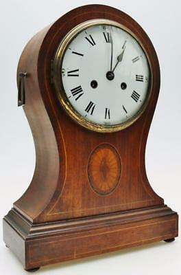 Monumental Antique Mahogany Balloon Striking 8 Day Mantel Clock Satinwood Inlaid