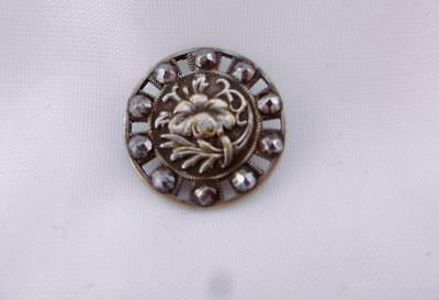 Small Antique Georgian Victorian Round Flower Cut Steel Button Early 1800s