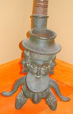 African Vintage Bamileke Bronze & Carved Wood Smoking Pipe Cameroon Grasslands
