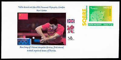 SPAIN GA OLYMPICS 2012 TABLE TENNIS CHINA MEDAL WINNER PRIVATE COVER RARE!! zb66