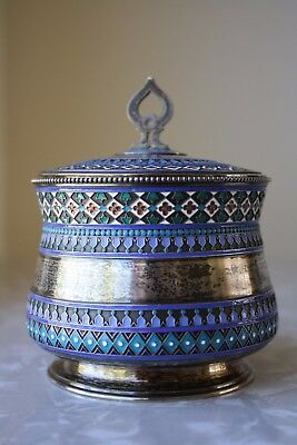 Antique 19th C. Russian Cloisonne Silver Container Made for Tiffany & Co. Moscow