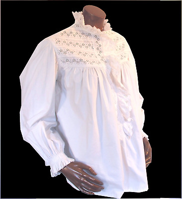 Victorian Blouse White Cotton Broderie Anglaise Button Front Steampunk M-L UK12