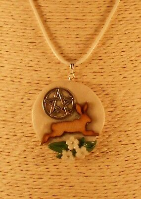 Pagan Wicca Druid Handmade by LM Jewellery Pendant - Hare & Moon with Pentacle