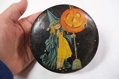 """Vintage Halloween Tindeco Small Candy Tin Container - 3 7/8"""""""