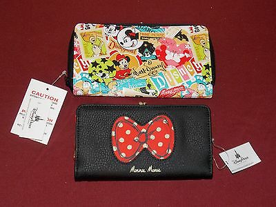(2) Disney Parks Minnie Mouse Icon Red & Black Bow Zip Wallet Wrist Strap - NEW