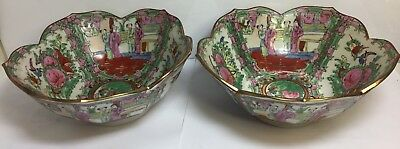 Chinese Porcelain Bowls Pair Hand Painted Vintage Style Signed