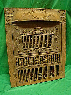 Antique 1800's Cast Iron Gas Fireplace Insert Torch Design Ornate Unique