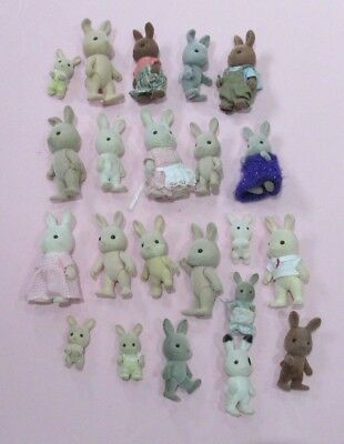Bundle Of Old Used Sylvanian Rabbits