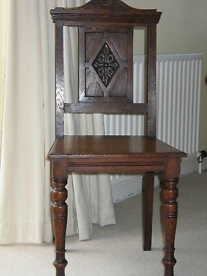 Solid Oak Gothic Style Edwardian Hall/occasional Chair Original Condition