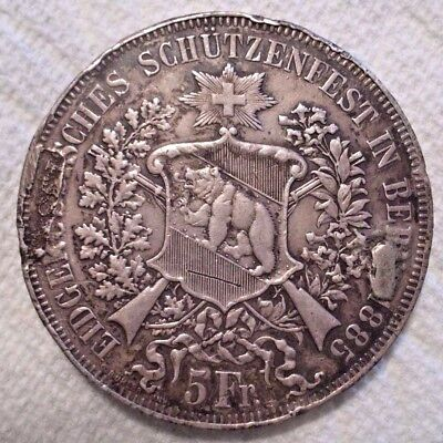 1885 Switzerland 5 Francs X# S17 .835 Silver Coin