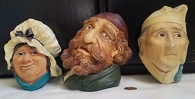 Lot of 3 Vintage Chalkware Heads Hanging Wall Plaques Art Dickens Fagin Scrooge