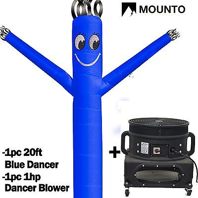 MOUNTO 20ft Blue Wind Fly Dancer Dancing Sky Air Puppet with Blower