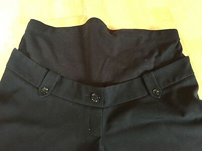 MOTHERCARE MODA Maternity Trousers Black OVER-Bump Adjustable Size 10S  28L